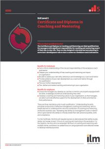 ILM Level 5 Certificate and Diploma in Coaching & Mentoring Q Card